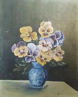 Antique impressionist oil painting still life with flowers signed