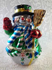 Mr. Christmas Snowman Music Box with Animated Dancers Inside Adorable OOK