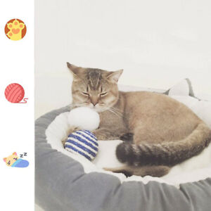 Round Cat Sleeping Bed Plush Warm Cat Cushion Supplies Non-slip Sofa Z