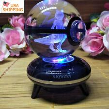 3D Mewtwo Pokemon Crystal ball Home Decor Night Light LED Desk Table Lamp Gift