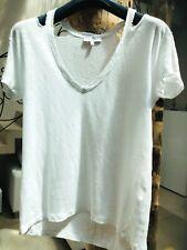 IRO 100% linen BLANC lin  LOOSE tee shirt TOP HAUT DECOUPE EPAULE  39 40 UK 810