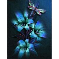 5D Diamond Painting Blue Lily and Dragonfly Cross Stitch Kit Home Decor Art Gift