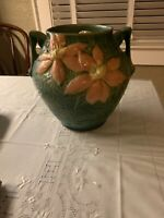 Roseville Pottery Clematis Green Ceramic Cookie Jar 3-8