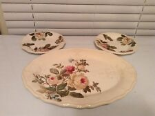 "Lenox Accoutrements Oval Serving Platter 16""x 12"" Roses Green Floral Rustic Edge"