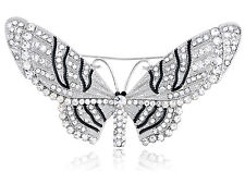 Clear Crystal Rhinestone Encrusted Fairy Butterfly Moth Insect Design Pin Brooch