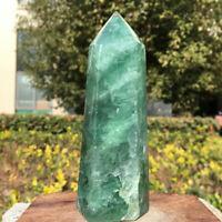 339G Natural Clear green fluorite obelisk Quartz Crystal tower Point healing