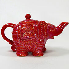 "Calypso St. Barth 11.5"" ELEPHANT TEAPOT 2011 Target Home Coral Red Pink Orange"