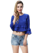 Women Fashion Short Sleeve Ruffles Shirts Blouse Evening Party Crop Casual Tops