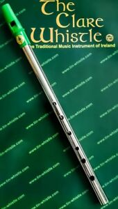"Clare Tin Whistle - Nickel - Irish - Green Mouthpiece - ""NEW"""