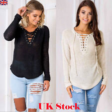 Womens V Neck Knitted Sweater Ladies Lace-up Long Sleeve Casual Top Jumper 6-16