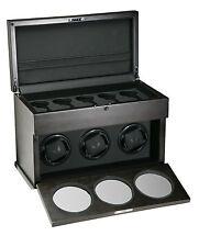 New High Quality VOLTA Automatic 3 Watch Carbon Fiber Winder Box w/ Storage