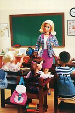 """"""" Sitting in Class """" Fashion Collectible Photo Card Mattel Barbie Doll Postcard"""