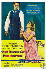 The night of the hunter Robert Mitchum movie poster print