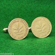German Oak Leaves Coin Cufflinks, 5 Pfennig Brass Germany