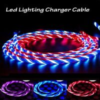 LED Flowing Charger Micro USB Cable Fast Charging Type-C 8pin for iPhone Android