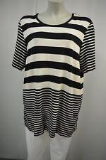 GERRY WEBER Tunika Shirt  48 ecru-Schwarz Locker Stretch Kurzarm Gestreift  TOP