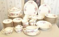 Limoges USA Wild Rose Dinner Service for 12 w/serving dishes tea service 92 pcs