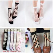 Lace Flower Ankle Breathable Glass Silk Socks Sheer Mesh Transparent Stripe