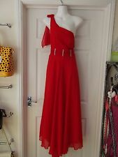 Full Length Occasional Dress Red One Shoulder with Diamonte Detail UK Size 8