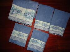 VINTAGE FIELDCREST BLUE VICTORIAN LACE TAPESTRY (5PC) WASH HAND FINGERTIP TOWELS