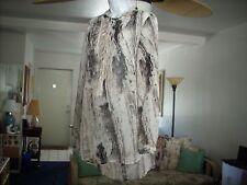 Womens Sheer Mossimo Draped Blouse Brown & Cream Lg Sleeve 3/4 Front Zipper  Lg