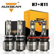 AUXBEAM H7+H11 LED Headlight Bulb Kit High Low Beam+Decoder Canbus Anti Flicker
