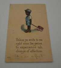 Vintage Black Americana Postcard Little Boy With Wagon