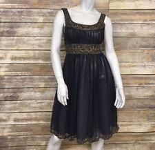 adrianna papell Tea Length Dress Silk Chiffon Beaded Top And Skirt