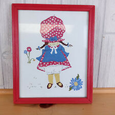 Holly Hobbie in Red & Blue Painting ~ Hand Painted Framed Signed Art Flowers