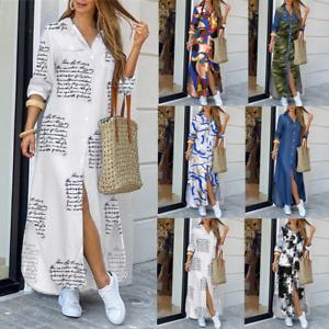 Women's Denim Long Sleeve Button Down Long Maxi Shirt Dress Plus Size