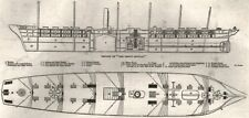 Section of the SS Great Britain; upper deck of SS Great Britain, old print, 1845