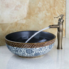 Round Bathroom Vessel Ceramics Sink Set With Antique Style Faucets Mixer Taps
