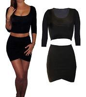 Womens Ladies Co Ord 2 Piece Set Jersey UK Dress Skirt Crop Top Size 8 10 12 S M
