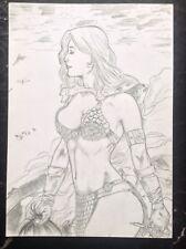 Red SONJA originali d'arte disegno erotico sexy pinup donna fantasia FUMETTI Barbari