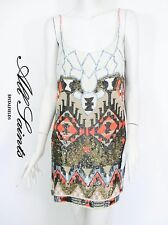 STUNNING WOMENS ALL SAINTS AZTEC DRESS HAND EMBELLISHED CORAL SEQUIN 12 £295 VGC