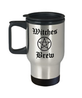Occult Wicca travel mug - Witches Brew Blessed be pentagram Goddess symbol gift