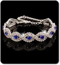 Armband Kette Kristall Strass Versilbert Armeife Hochzeit Braut Blau Royal/Klar
