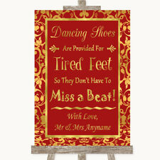 Wedding Sign Poster Print Red & Gold Dancing Shoes Flip-Flop Tired Feet