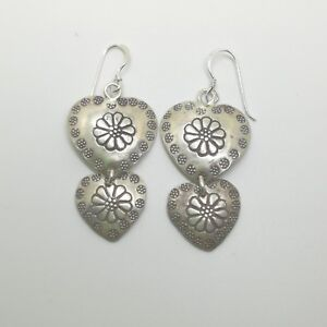 925 Fine Silver Earrings Thailand Jewelry Accessories Double layer Hearts aucsun