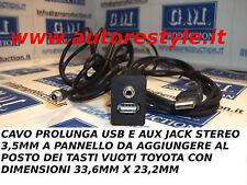 CAVO A PANNELLO USB AUX 3,5MM PER TOYOTA YARIS E ALTRE PER TASTI COME DA MISURE