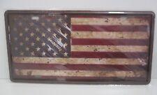 """PLAQUE TOLE 15 x 30 cm Décoration """"DRAPEAU AMERICAIN"""" Neuf emballage d'or..."""