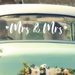 Mrs And Mrs Wedding Sticker Decal | Removeable Car Vehicle Vinyl Lesbian Gay WD8