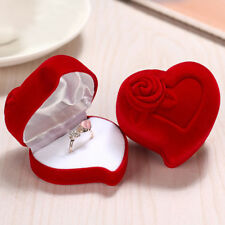 Luxury Red Love Heart Flocked Ring Box Gift Engagement Wedding Proposal UK