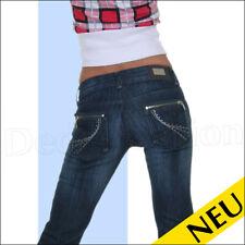 NEU 🌸 Sexy Blue DENIM Jeans MY VIVI Used Style STRASS Lurex ZIP Design 🌸 34 38