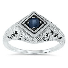ART DECO ANTIQUE STYLE GENUINE SAPPHIRE .925 STERLING SILVER SOLITAIRE RING, #59
