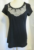 MM Couture by Miss Me Women's Large Black w/ decoration short sleeve t shirt