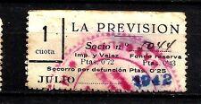 8370-SELLO ESPAÑA CUOTA LA PREVISION OBRERA EN CATALAN Y CASTELLANo 1942