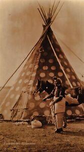 1927/90 EDWARD CURTIS Blackfoot Indian Man Teepee Horse GOLDTONE Photo Art 11x14