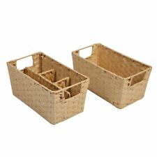 New ListingSlpr Woven Wicker Storage Baskets with Compartments (Set of 2) | Rustic Farmhous