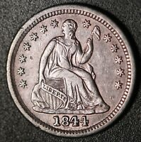 1844 SEATED LIB. HALF DIME - AU - W SOME MINT LUSTER & REPUNCHED DATE FS301 RPD